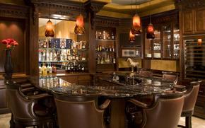 лампы., ваза, бар, стулья, напитки