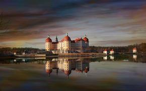 Germany, Moritzburg, evening, pond, castle, reflection
