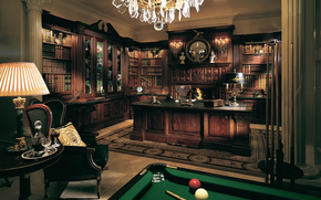 chair, billiards, table, lamp, table, cabinet, interior, furniture, style, klasichisky, cue., Balloons, Classics, Cabinet, Cues, Books