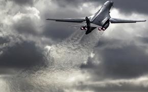 США, сверхзвуковой, сопла, бомбардировщик, тепловой след, стратегический, взлет, пасмурно