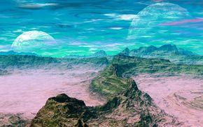 небо, планета, облака, горы