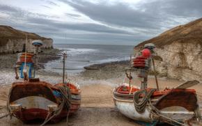 море, берег, лодки, пейзаж