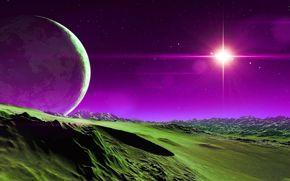 звезды, горы, небо, спутник, планета