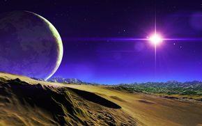 Star, Mountains, sky, Satellite, planet