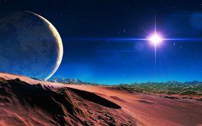 Stella, Montagne, cielo, Satellite, pianeta