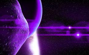 астероид, свет, звезда, вселенная, лучи, планета