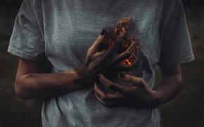 chest, heart, hands, Art, burning