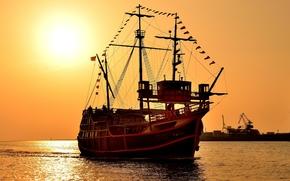 tre alberi Karakka, Altri macchinari e attrezzature, pesce vela, tramonto