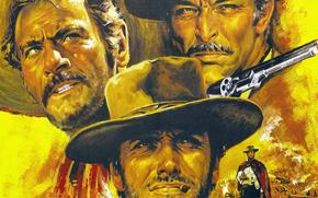 плохой, коллажный, ролях, цель, стиль., найдет, жанр, трое, Серджио Леоне, Клинт Иствуд, Хороший, приключения, свое, Эли Уоллах, мужчин, фильм, злой, вестерн, Ли Ван Клиф, режиссер, одна, каждый, в