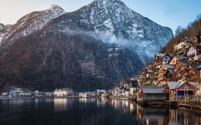 UNESCO monument, Mountains, Alps, lake, commune, home, forest, winter, Austria, nature
