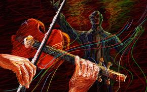 sonidos, violinista, concierto, vector, conductor, tocar, violín