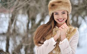 futro, płaszcz, Czapka, siła robocza, rękawice, zima, widok, twarz, dziewczyna, uśmiech, śnieg, nastrój