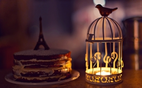 candle, Widescreen, Eiffel Tower, cake, candle, Mood, lantern, birdie, sponge cake, wallpaper, figurine, flashlight, cell, Widescreen, cream, fullscreen, background, bird