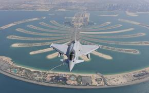полет, город, панорама, Дубай, многоцелевой, истребитель, поколения, четвертого