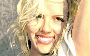 green eyes, smile, actress, painting, blonde