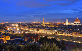 Italy, Florence, home, twilight, lights, Roof, evening, Tuscany