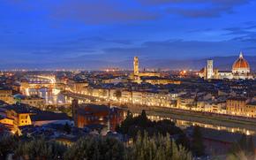 Italia, Firenze, domestico, crepuscolo, luci, Volta, sera, Toscana