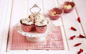 выпечка, салфетка, глазурь, пирожные, розовая, кексы, лепестки