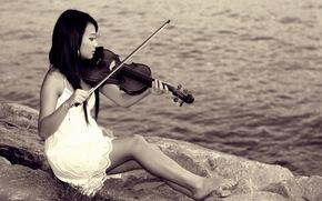 девушка, скрипка, азиатка, музыка