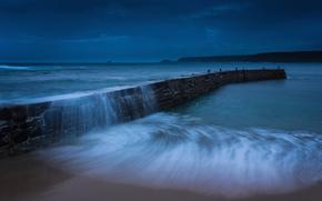 пляж, Великобритания, песок, берег, синева, вечер, Англия, сумерки, прибой, небо, пирс, море