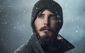 снег, мужик, шапка, портрет