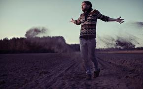 guy, land, sky, dust, arable