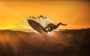 spray, Sport, wave, surfing, Moment, ocean, sunset, athlete