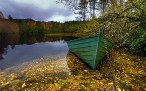 lake, boat, landscape