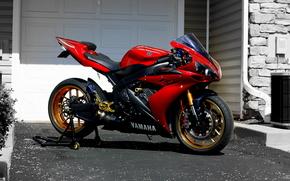 Yamaha, R1, czerwony, Sportbikes