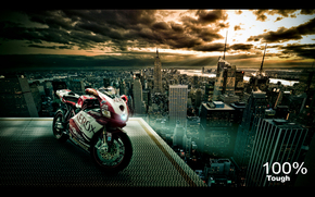 Ducati 999, roof, city, clouds, red