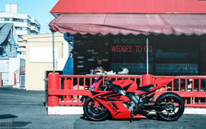 Honda CBR1000RR, red, cafe, pendulum