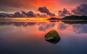 puesta del sol, nubes, piedra, lago, Hills
