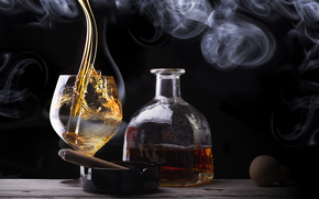 smoke, bottle, glass, whiskey, cigar