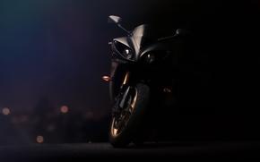 вид спереди, мотоцикл, чёрный, суперспорт, ямаха, Мотоциклы, фары