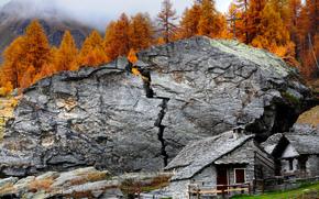 природа, дом, горы, раскол, Альпы, скалы, лес, камень