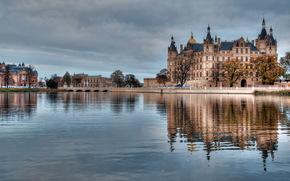 вода, Германия, здания, Гамбург, река, архитектура., замки