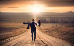 путь, влюблённые, дорога, пара, простор