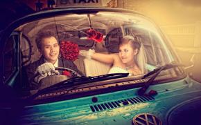 bride, groom, taxi