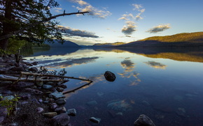 evening, transparency, trees, summer, stones, lake, reflection, Hills