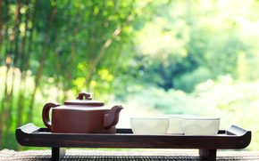 mat, kettle, bowls, brown, Tea Party, White, tray, nature