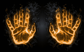 руки, ладони, огонь, 3d, art