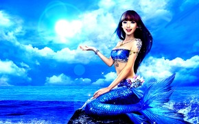 океан, девушка, синий, азиатка, русалка, хвост, море