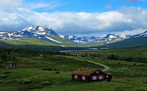 домик, небо, облака, дорога, горы