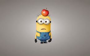 minion, apple, view, yellow, light background