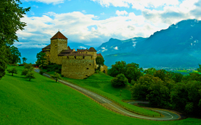 summer, Mountains, road, castle, fortress, grass, sky, old man, clouds, trees