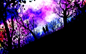 деревья, девушка, пара, парень, арт, двое, аниме, природа, звезды