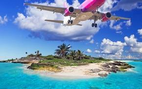 Самолет, летящий над островом, тропики, пляж, море, The plane, flying over the island, tropics, beach, sea