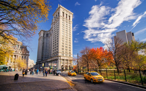sky, New York, people, taxi, Skyscrapers, autumn, building, machinery, city, road, USA, park, street, clouds, home, Manhattan