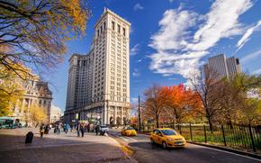 cielo, New York, persone, Taxi, Grattacieli, autunno, costruzione, macchinario, città, stradale, USA, parco, strada, nuvole, domestico, Manhattan