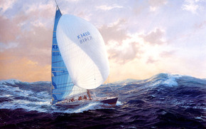 图片, 云, 游艇, 重海, 天空, 风, 波浪